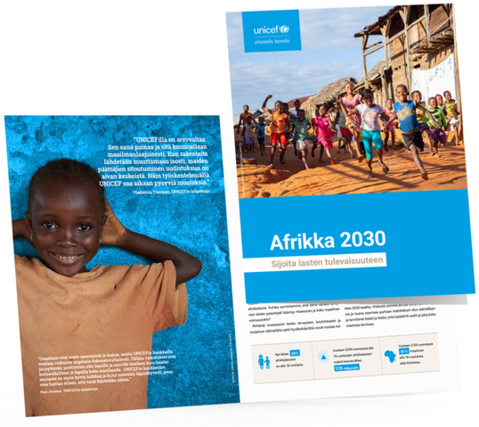 Unicefin Afrikka 2030 -kampanjan esite ja muuta materiaalia