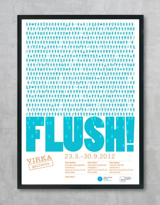 Flush!-näyttelyn juliste, ilmoitukset, esite yms.