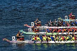 Dragonboats Race on the Willamette River in Portland, Oregon