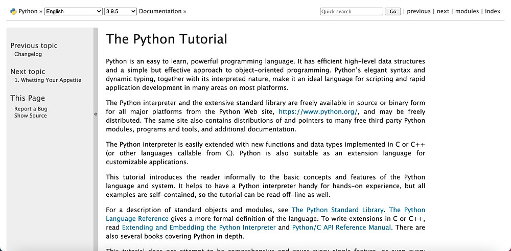 A screenshot of the Python 3 Official Documentation website that explains what Python is