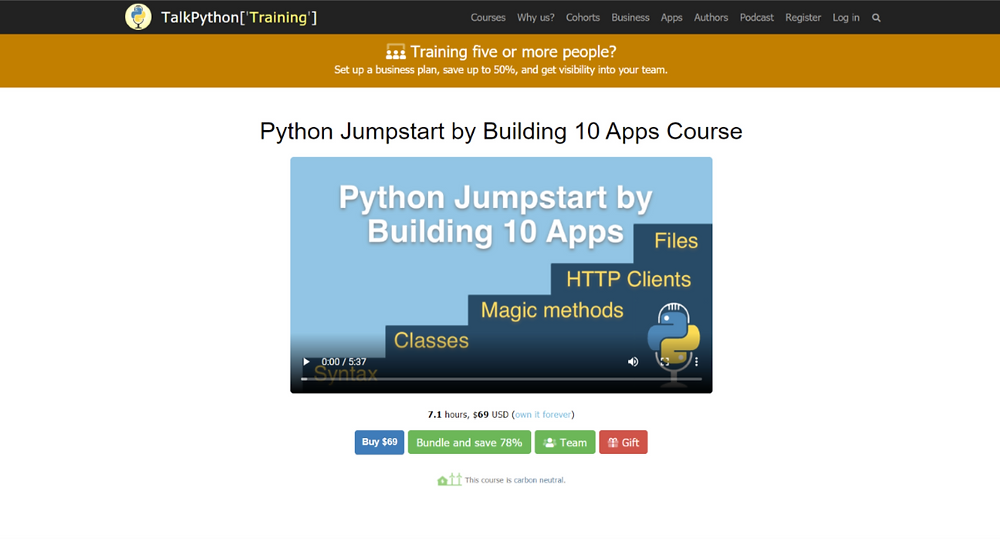 A screenshot of the home page of Python Jumpstart by Building 10 Apps Online Course website