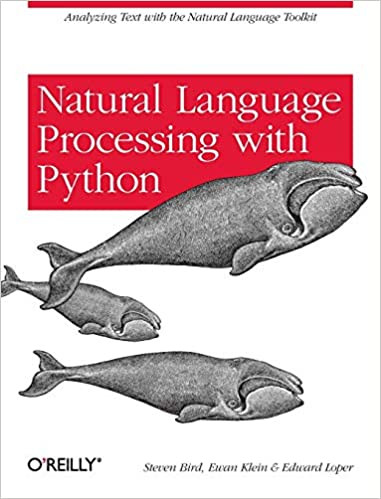A cover image of a book called Natural Language Processing with Python that is all white with a red square with the title on it, and images of whales.