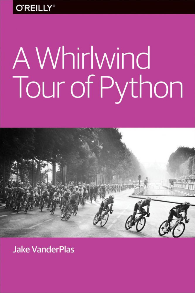 A cover of the book A Whirlwind Tour of Python that is a hue of dark pink and has a black and while photo of cyclists