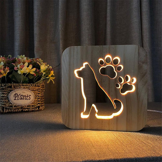 Dog Silhouette Night Light - Memorial Keepsake