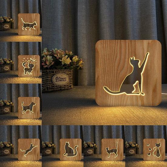 Cat Silhouette Night Light - Memorial Keepsake