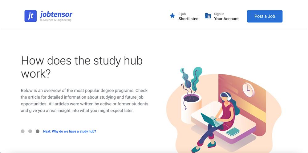 A screenshot of Jobtensor's study hub page that explains how study hub works