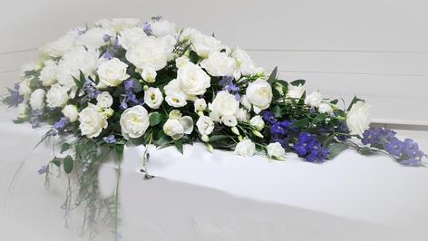 Hvite og blå blomster