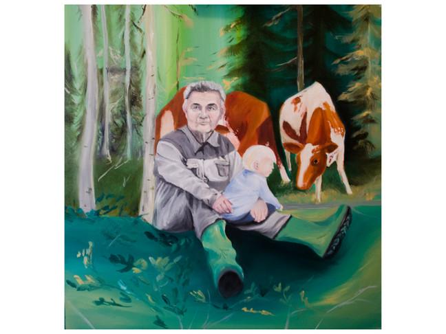 Maleri på bestilling av bestefar med barnebarn