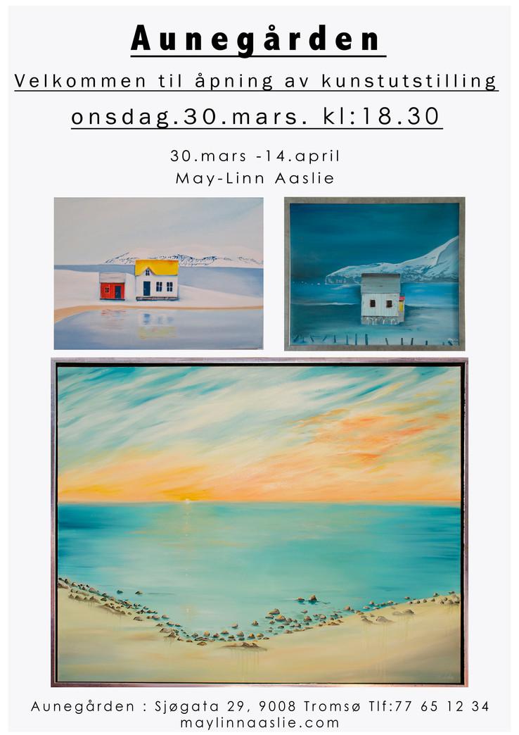 Invitasjon til åpning av kunstutstilling på Aunegården 30.mars.Kl:18:30.