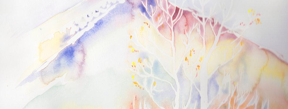Høsten på Hågen. Akvarell