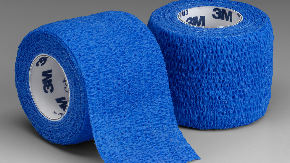 3M™ Coban™ Self-Adherent Wrap 1584B, Blue, 4 Inch x 5 Yards, 18 Bags/Case