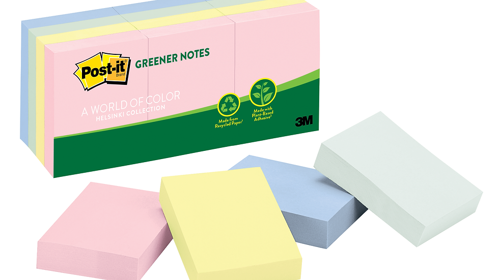 Post-it® Greener Notes 653-RP-A, 1-3/8 in x 1-7/8 in (34,9 mm x 47,6 mm)