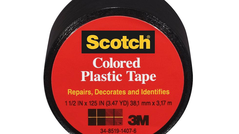 Scotch® Colored Plastic Tape 191BK, 1.5 in x 125 in (38,1 mm x 3.17 m)