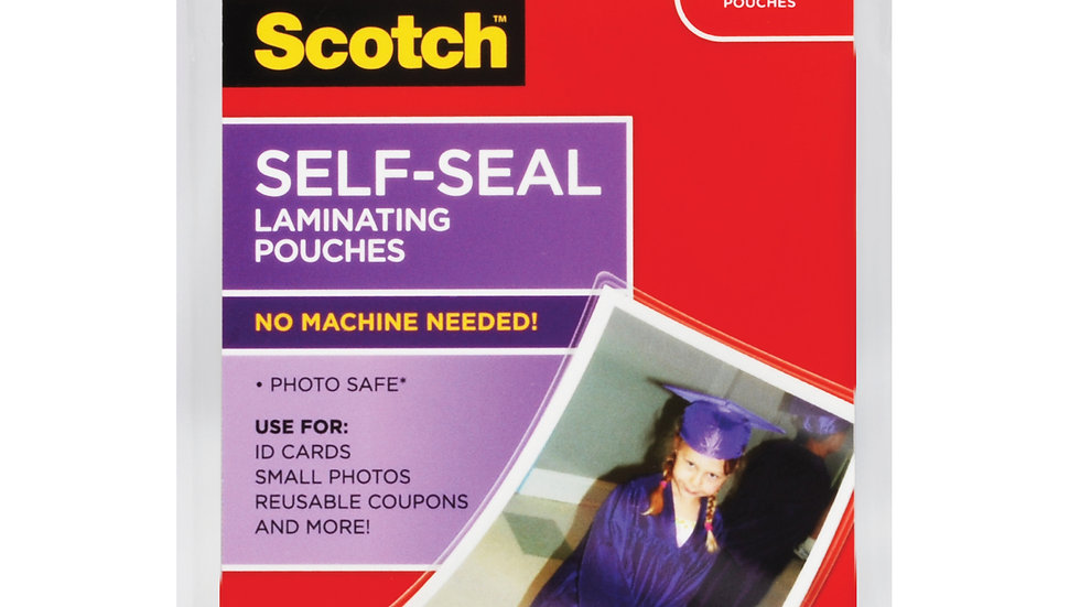 Scotch™ Self-Sealing Laminating Pouches PL903G, 2.9 in x 3.8 in (74 mm x 99 mm)