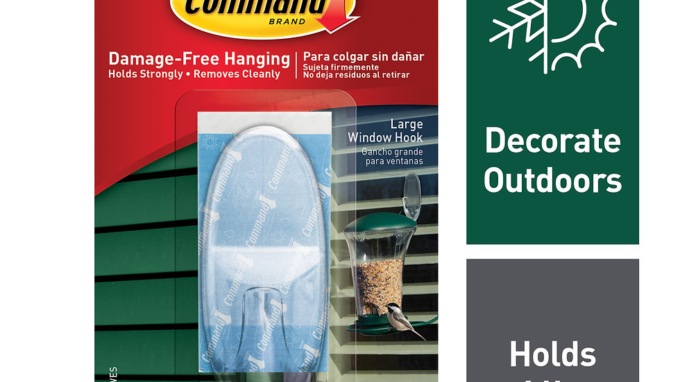 Command™ Outdoor Large Clear Window Hook 17093CLR-AWES