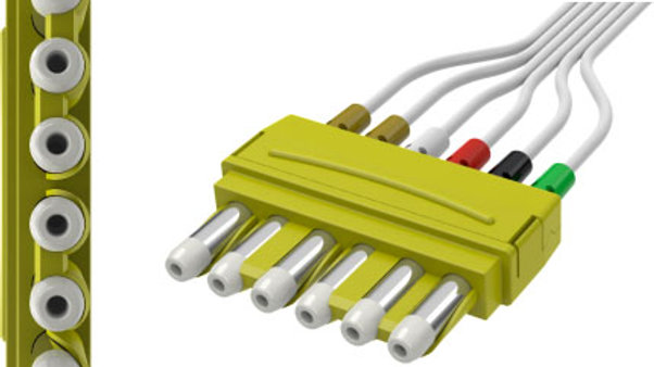 """ECG Disposable Leadwire, 6-Lead, Universal DIN, Pinch Connect, 50"""""""