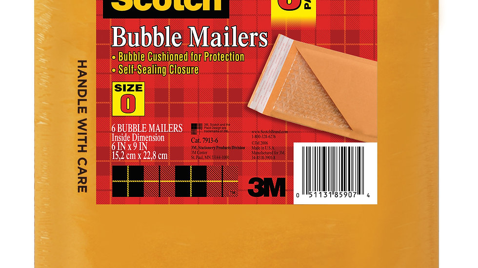 Scotch™ Kraft Bubble Mailer 6-Pack, 7913-6, 6 in x 9 in Size #0