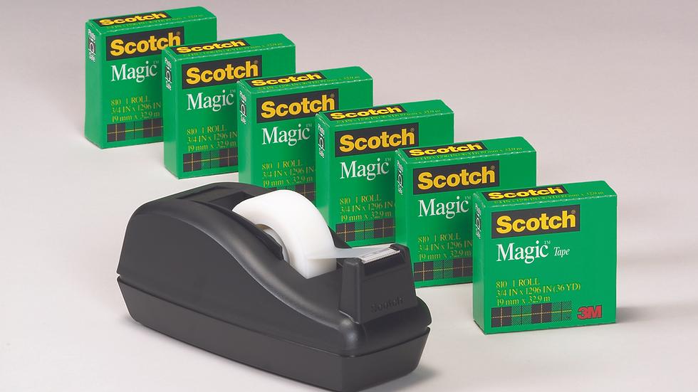 Scotch® Magic™ Tape Deal 810C40BK 3/4 in x 1000 in 6pk w/C-40 Black Dispenser