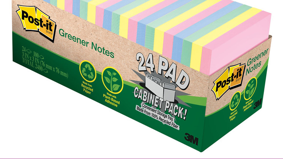 Post-it® Notes 654R-24CP-AP, 3 in x 3 in (76 mm x 76 mm)