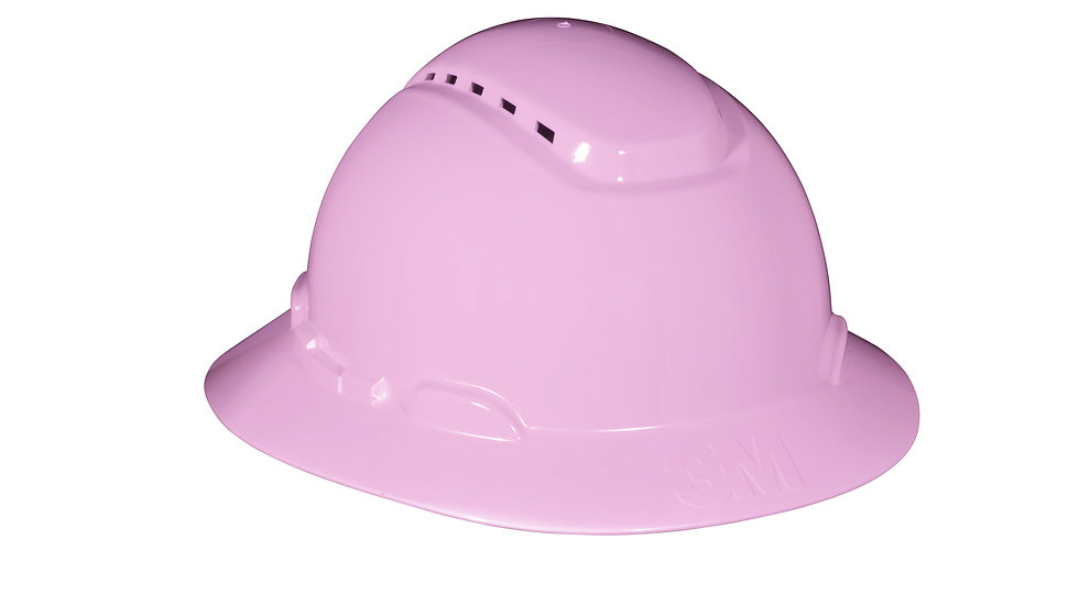 3M™ Full Brim Hard Hat H-813V-UV, Pink, 4-Point Ratchet Suspension,