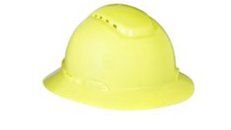 3M™ Full Brim Hard Hat H-809V, Hi-Vis Yellow 4-Point Ratchet Suspension,