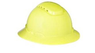 3M™ Full Brim Hard Hat H-809V, Hi-Vis Yellow 4-Point Ratchet Suspension, Vented