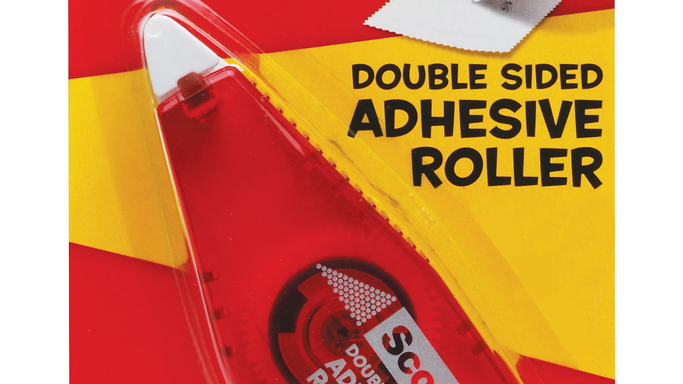 Scotch® Double Sided Adhesive Roller, 6061, .27 in x 26 ft (7 mm x 8 m) Red