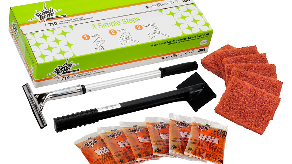 Scotch-Brite™ Quick Clean Griddle Cleaning System Starter Kit 710, 1/Case