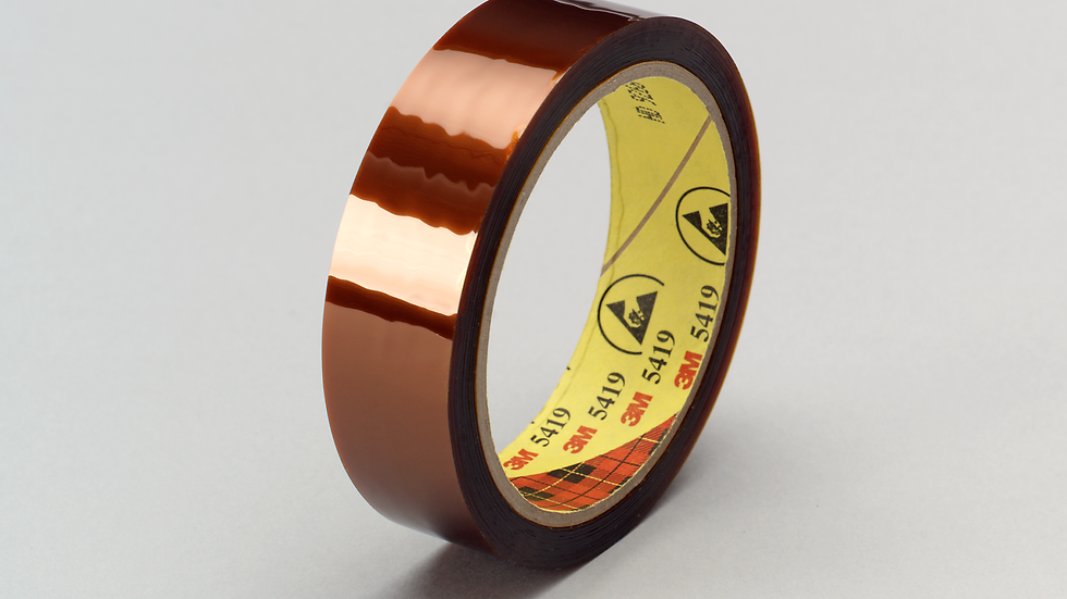 3M™ Low-Static Polyimide Film Tape 5419 Gold, 1/4 in x 36 yds x 2.7 mil