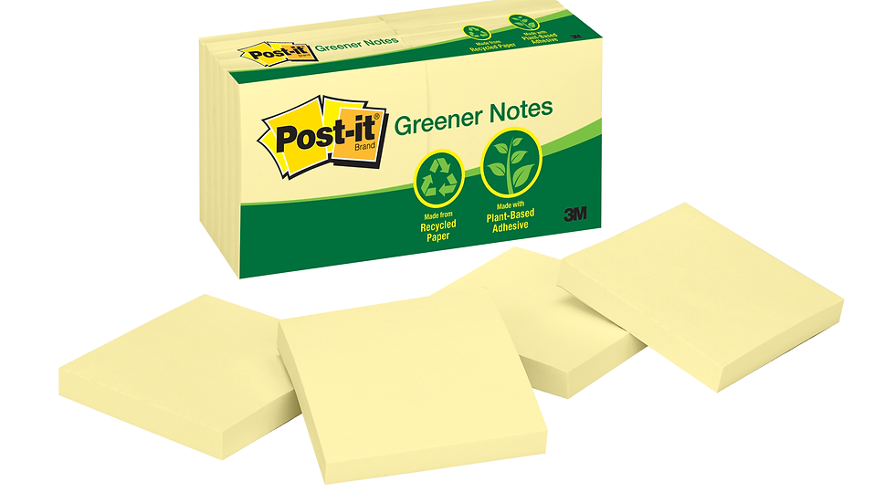 Post-it® Notes 654-RP, 3 in x 3 in Canary Yellow