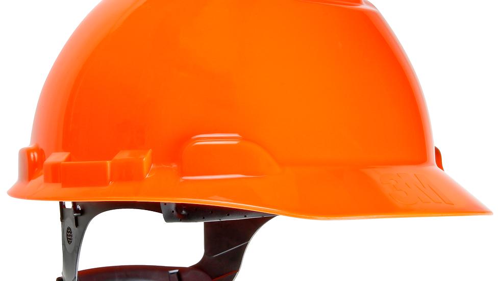 3M™ Hard Hat H-707R-UV, Hi-Viz Orange, 4-Point Ratchet Suspension with Uvicator