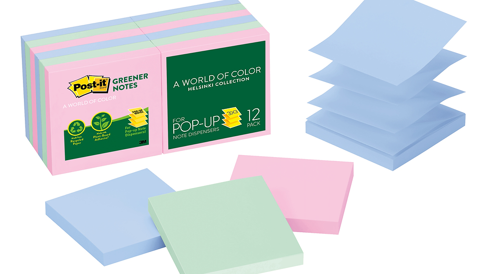 Post-it® Greener Pop-up Notes R330RP-12AP, 3 in x 3 in, Assorted Pastel