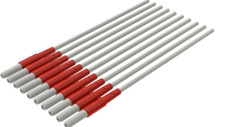 """ECG Reusable Leadwire, 1-Lead Replacement Safety DIN, Snap, 40"""", Red"""