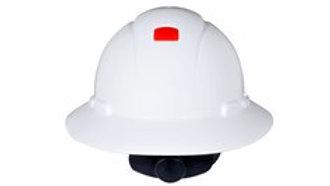 3M Full Brim Hard Hat H-801R-UV, White 4-Point Ratchet Suspension with Uvicator