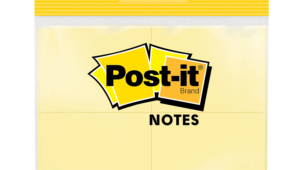 Post-it® Notes, 653-4-CY, 1 3/8 in x 1 7/8 in (34.9 mm x 47.6 mm)