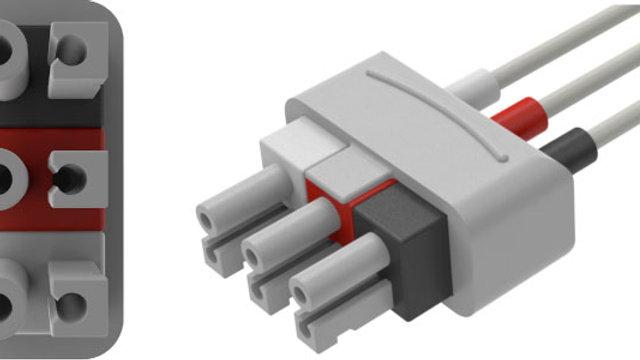 "ECG Reusable Leadwire, 3-Lead, Philips Twin Pin, Pinch, 51"" 1 EA, AA51302"