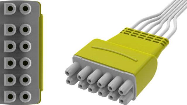 "ECG Disposable Leadwire, 6-Lead, Pinch Connect, 50"", YMDLW6SGEP"
