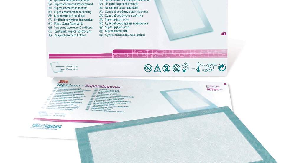 3M™ Tegaderm™ Superabsorber Dressing 90704, 8 IN x 12 IN, 10 BG/CTN , 5 CTN/CS