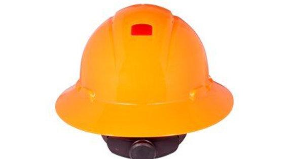 3M™ Full Brim Hard Hat H-806V-UV, Orange 4-Point Ratchet Suspension, Vented
