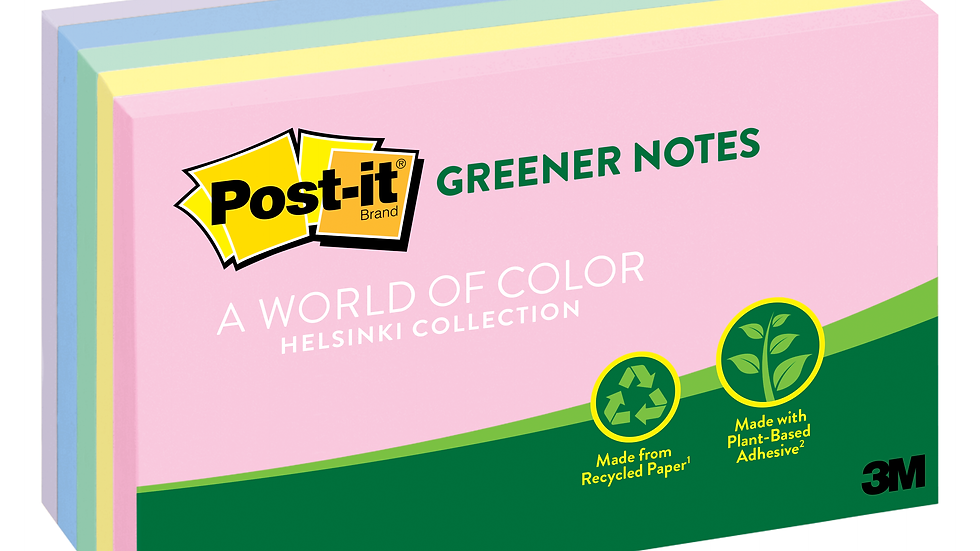 Post-it® Greener Notes 655-RP-A, 3 in x 5 in (76 mm x 127 mm) Helsinki Colors