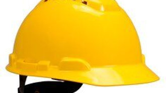 3M™ Hard Hat with Uvicator H-702V-UV, Vented, Yellow 4-Point Ratchet Suspension
