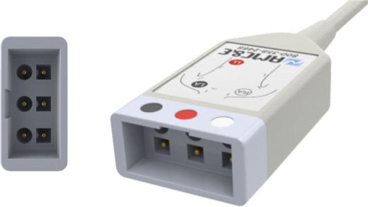 ECG Monitoring Cable, 3-Lead, Datex Ohmeda to Philips Twin Pin Yoke,