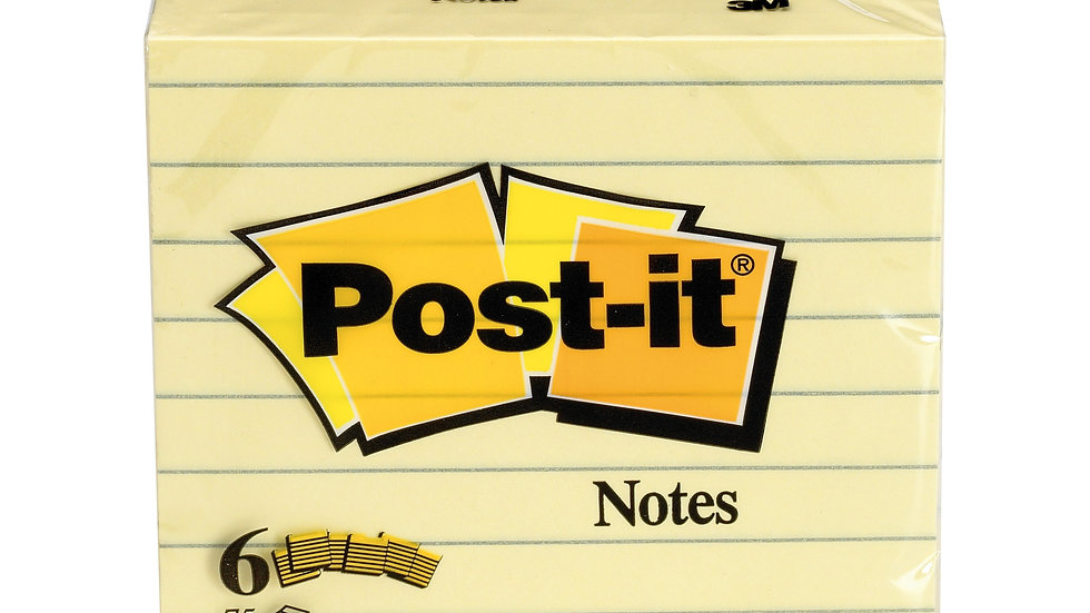 Post-it® Notes 5444 Canary Yellow 3 in x 3 in (7.62 cm x 7.62 cm) , Lined