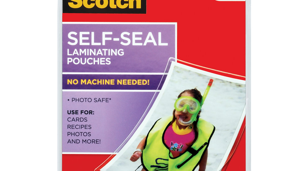 Scotch Self-Sealing Laminating Pouches PL900G 4.3 in x 6.3 in (111 mm x 161 mm)