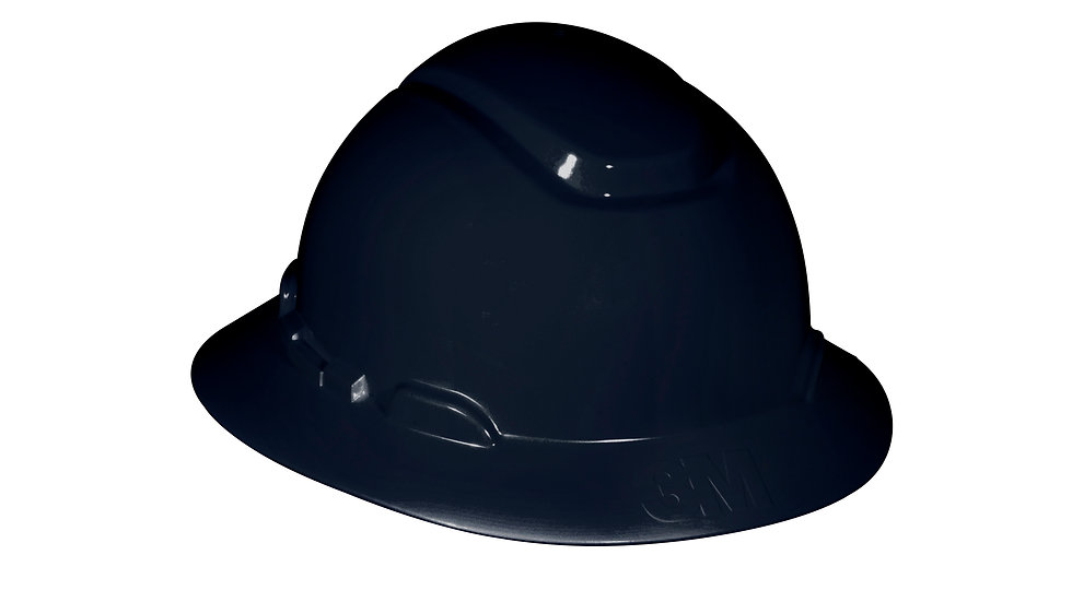3M™ Full Brim Hard Hat H-812R, Black, 4-Point Ratchet Suspension, 20