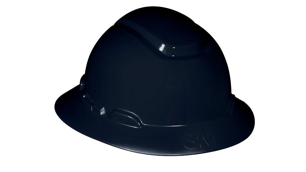 3M™ Full Brim Hard Hat H-812R, Black, 4-Point Ratchet Suspension, 20 EA/Case
