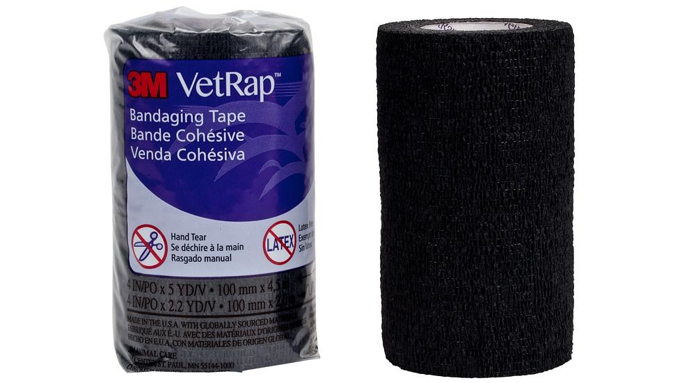 3M™ VetRap™ Bandaging Tape 1410BK-LFHT, 4 in x 5 yd (100 mm x 4,5 m)
