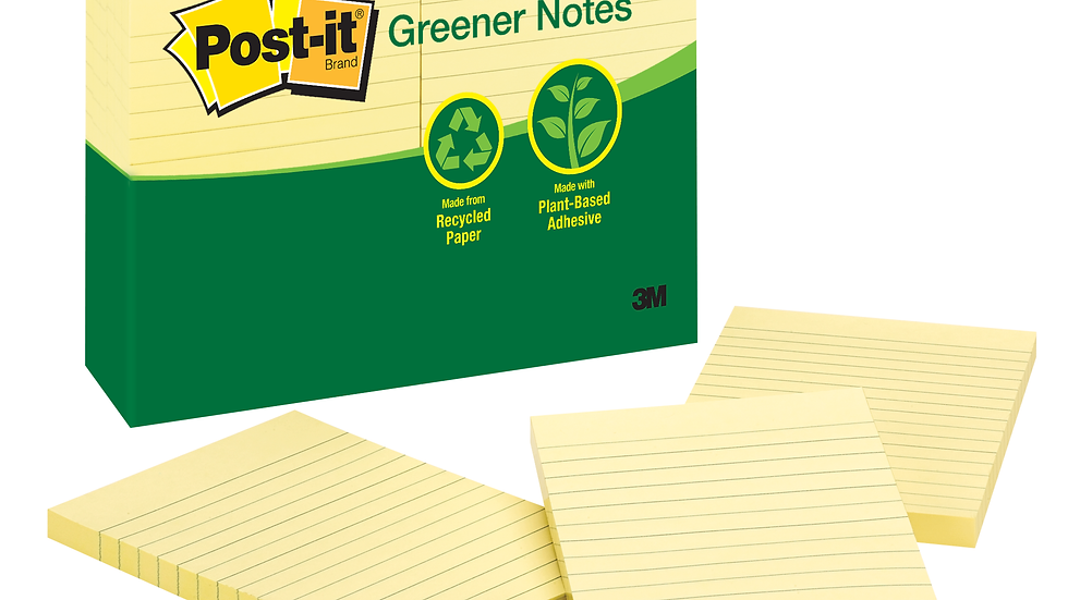 Post-it® Notes 660-RP, 4 in x 6 in Canary Yellow, Lined, 12 Pads/Pack