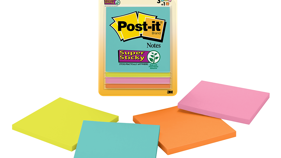 Post-it® Super Sticky Notes, 3321-SSAN-B, 3 in x 3 in (76 mm x 76 mm)