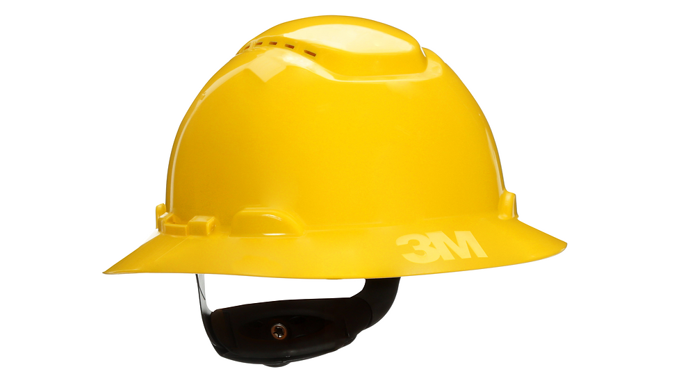 3M™ Full Brim Hard Hat H-802V, Yellow 4-Point Ratchet Suspension,